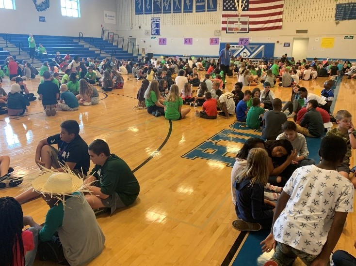 Middle school students participate in activities