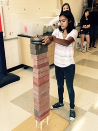 Westerville Central Physics Students Build Note Card Tower