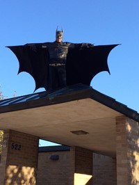 Batman Welcomes Cherrington Students to School on October 15