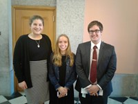 Anna and Sarah with Adam Landefeld (Aide to Representative Anne Gonzales).