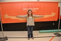 Cherrington fifth grader compares her wingspan.