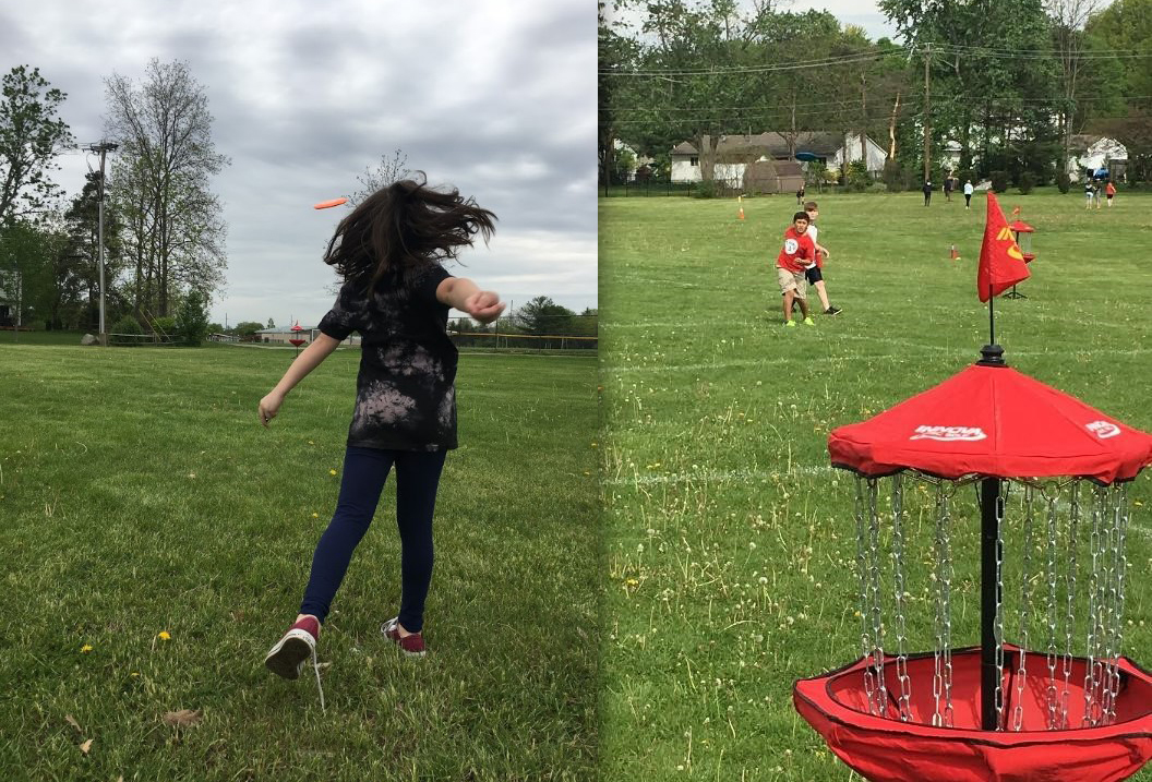 Cherrington students disc golf on a course at their school
