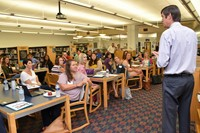 Dr. John Kellogg addresses new teachers