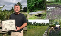 Science teacher Erik Ekis is pictured with Central's Ohio Division of Wildlife award.