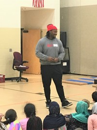 DaVon Hamilton encouraged students to work hard and make good choices