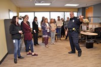 Officer Ware advises employees how to stay safe.