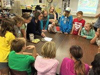 Laurie VanBalen speaks with students at Emerson Elementary School