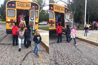 Youngsters practice emergency bus evacuations