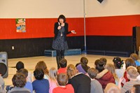 Margaret Peterson Haddix speaks with students at Cherrington Elementary