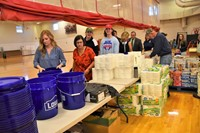Volunteers packing Go Buckets