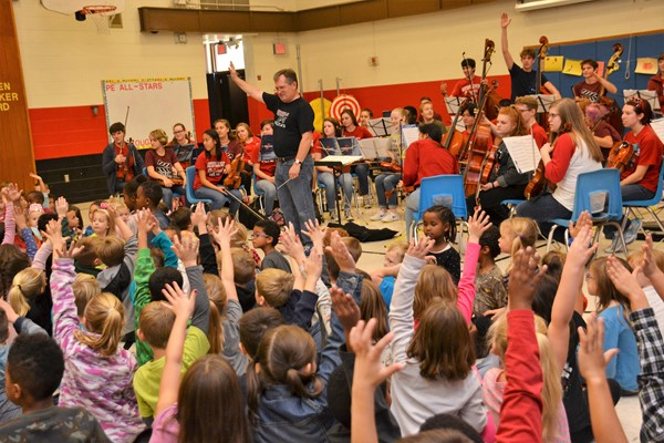 South's orchestra performed at four elementary schools, including Cherrington.