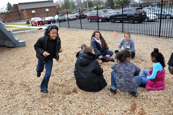 Otterbein softball players team up with Pointview kids to get fit and have fun.