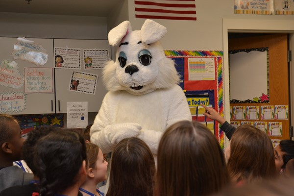Edward Tulane visits students at McVay Elementary.