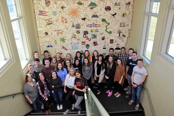 Graduating seniors returned to the Ohio mural at Fouse they helped to create.