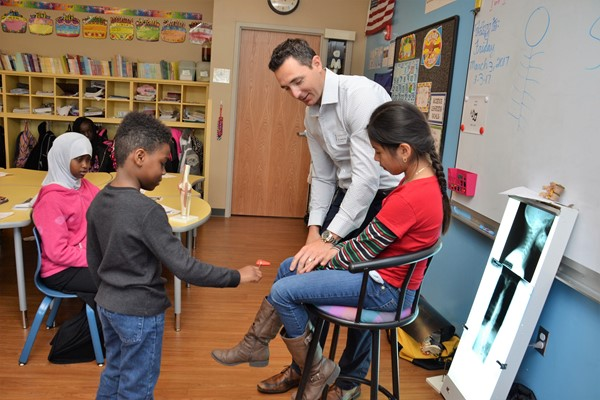 Pointview Career Day included a visit from a chiropractor.