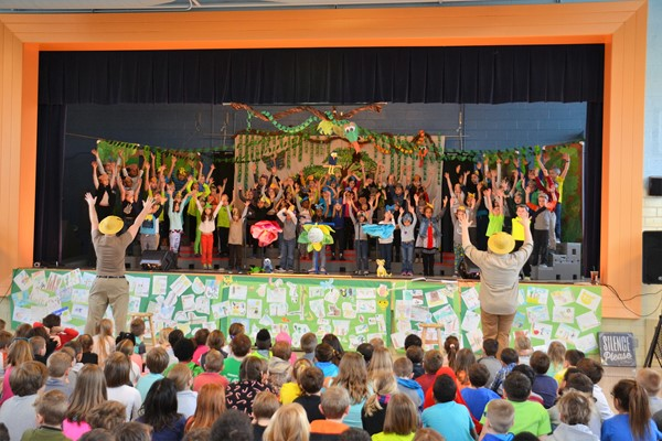 Whittier students performed in Singin' in the Rainforest.