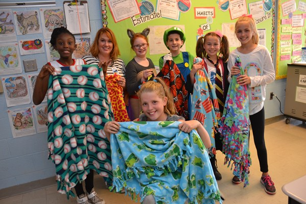 Whittier fifth graders supported My Very Own Blanket.
