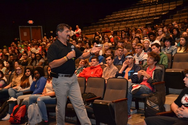Tyler's Light founder Wayne Campbell spoke with South pupils about opiate addiction.
