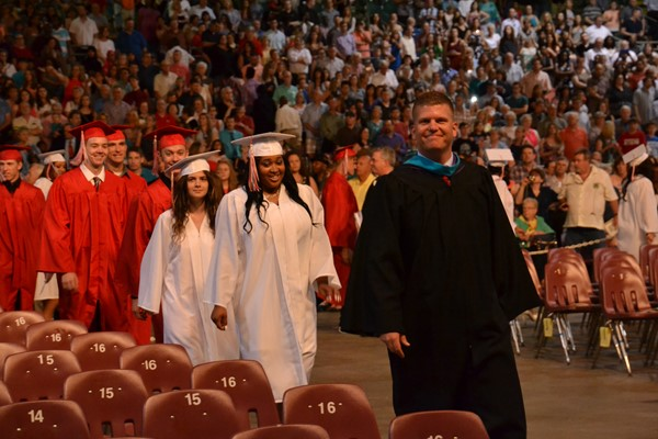 South Commencement 2016 students march in