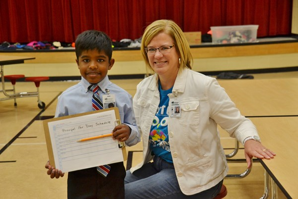 Joshua M. was Alcott Elementary School's honorary Principal for a Day.