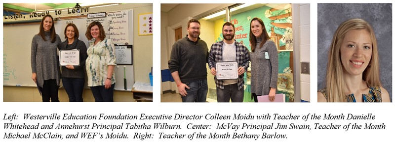 Westerville Education Foundation Teacher of the Month Recipients